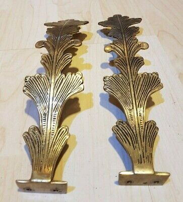 2 Vintage Lovely Leaf Shaped Solid Brass Curtain Tie Backs Hold Backs Drapes