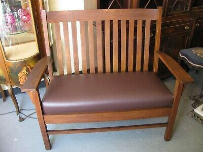 Harden Arts & Crafts Mission Oak Settee Bench - Newly Covered Original Frame