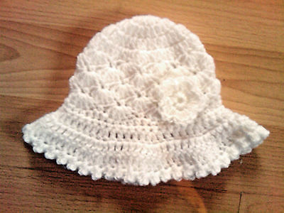 Handmade Hand Crocheted Baby Girl Mop Hat with Flower 100% Acrylic various cols.