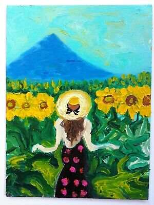 """Original oil painting Walk in sunflowers without frame  9x7"""" (24x18 cm)"""