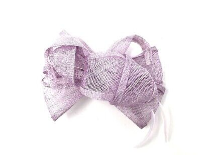 Mauve / Lavender Purple Feather Fascinator Hair Clip or Hair Band Races Wedding