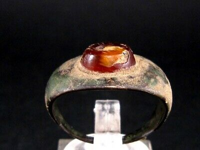ROMAN PERIOD BRONZE RING  w/ RED CARNELIAN *CACTUS * INTAGLIO ON TOP+++
