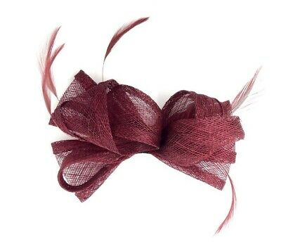 Burgundy Feather Fascinator Hair Clip / Hair Band Ladies Day Races Party Wedding