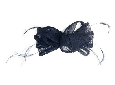 Navy Blue Feather Fascinator Hair Clip or Hair Band Ladies Day Races Wedding