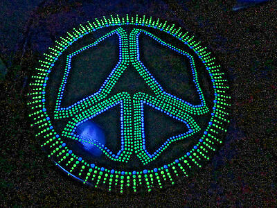 Vinyl LP Peace Sign Art Black Light Signed by the Artist PEACE SIGN Lil History