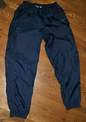 067604565 Vtg 90's Nike Track Pants Nylon Windbreaker BLUE Red Swoosh Tag Spell Out  Men XL