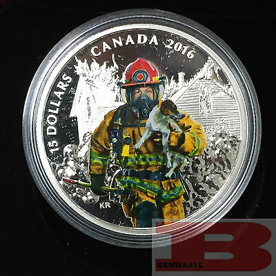 2016 Canada $15 National Heroes Series - Firefighters Fine Silver Coin