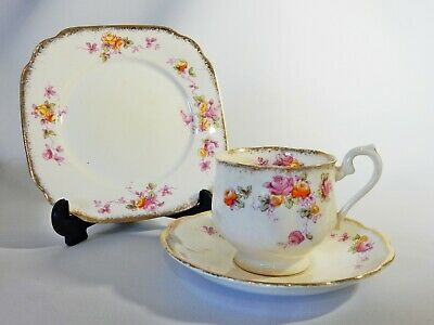 Antique 1930's Royal Albert Crown China Trio Teacup Saucer Side Plate Roses Cup