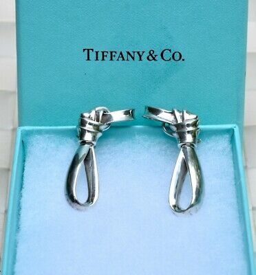 b60d1188a Tiffany & Co. Sterling Silver Large Knotted Bow Ribbon Clip On Earrings
