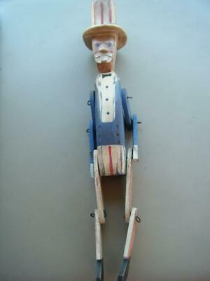Primitive UNCLE SAM JOINTED Hand Carved Wooden SHELF SITTER Americana Patriot