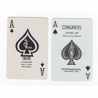 2 Single Old Swap Playing Cards. ACE of SPADES GOLF Crane  BRIDGE LEAGUE Congres
