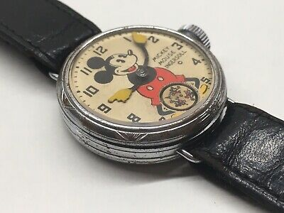 Vintage 1933 Sears Wire Lug Mickey Mouse Wrist Watch Ingersoll 30s Disney