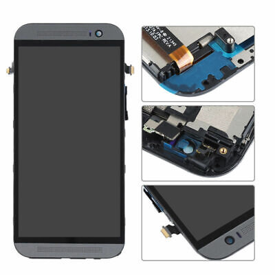 Black For HTC One M8 LCD Display Touch Screen Digitizer Assembly With Frame SL01
