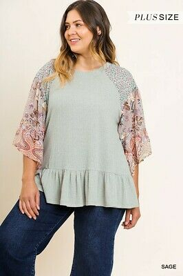 219e4a6a317559 UMGEE MIXED PRINT Ruffle Sleeve Heathered Knit Top Size SML & Plus ...