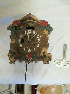 Vintage Cuckoo Clock Blue Bird Novelty August C Keebler Co With Key Parts Repair