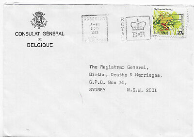 1982 Belgium consulate commercial cover EIIR QEII Royal Visit slogan frog