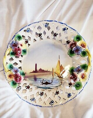 Vtg CAPODIMONTE Italian Basket Weave Porcelain Flowers Wall Hanging Plate ITALY