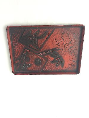 Vintage Paper Mache Tray Asian Chinese Japanese Lacquered Antique Bamboo