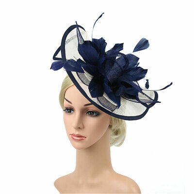 Wedding Party Fascinator Vintage Women Headpiece Feather Flower Hair Clip Hats