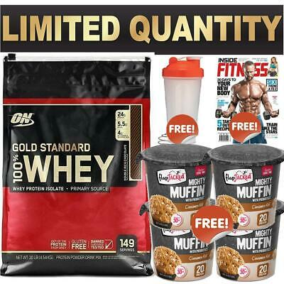 Gold Standard 100% On Whey Optimum Nutrition Wpi Wpc 10Lb Mag Shaker Muffin