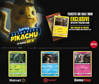 Set of ALL FOUR Exclusive Detective Pikachu Promo Cards
