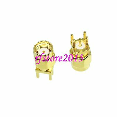 1pce Connector RP-SMA male jack solder PCB clip edge mount  RF COAXIAL Straight