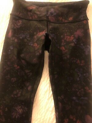 5b01e7350b65a7 Lululemon Wunder Under Moody Mirage Berry Pink Purple Floral Leggings Sz 8  26""