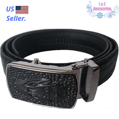 Automatic Buckle Men Faux Leather Designer Alligator Belt Cowskin Male Black