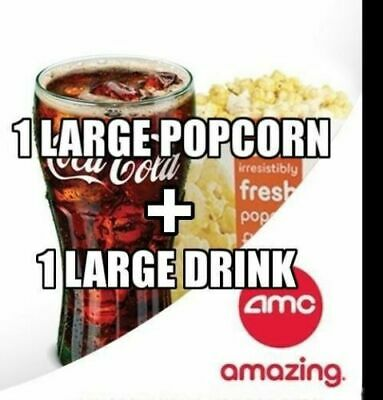 AMC Theaters 1 Large Popcorn + 1 Large Drink Expires 6/30/20 fast via messages