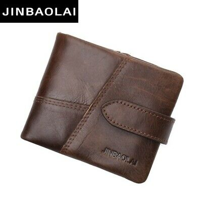 Luxury Brand GENUINE Leather Men Wallet With Coin Zipper Mini Purses Card Holder