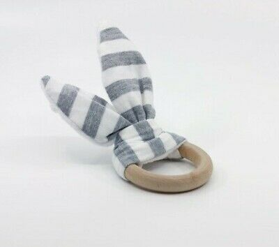 Bunny Ear Teether - Wooden Baby Teething Ring - Grey Stripe Fabric and Wood Ring