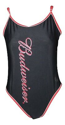 3435bc40ae7 Vintage 90s Swimsuit BUDWEISER One Piece Logo Black Size 13 Festival Grunge