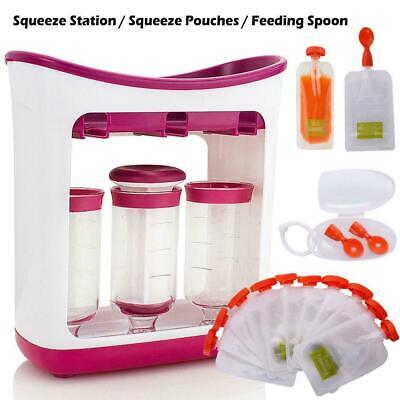Fresh Squeezed Squeeze Station Baby Weaning Food Puree Reusable Pouches Maker !