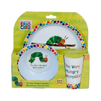 Very Hungry Caterpillar 3 Piece Dinner Set BPA Free Plate  Licensed