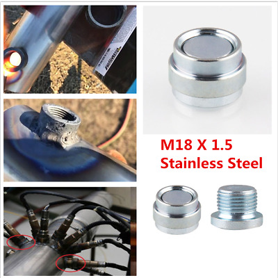 M18X1.5 Silver Stainless Steel Car Oxygen Sensor Stepped Mounting Bolt Nut Plugs