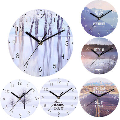 Retro Wall Clock Home Living Room Garden  Round Bedroom Silent Mute Wall Clock