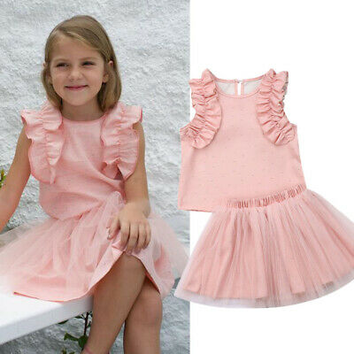 2Pcs Toddler Baby Girl Solid Dress Clothes Ruffle Tops Skirt Summer Outfits Set