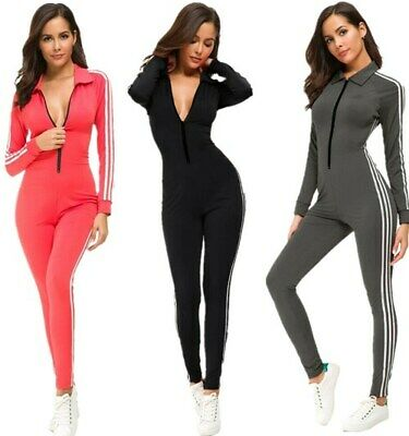 Women's Zip Up Striped Fitness Sport Long Sleeve One Piece Bodycon Jumpsuit