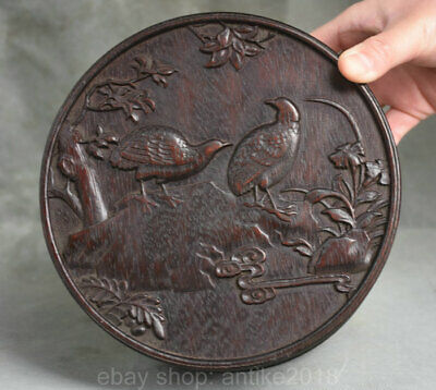 7 inch Collect Old Chinese Dynasty Palace Redwood Carving Quail Flower Box