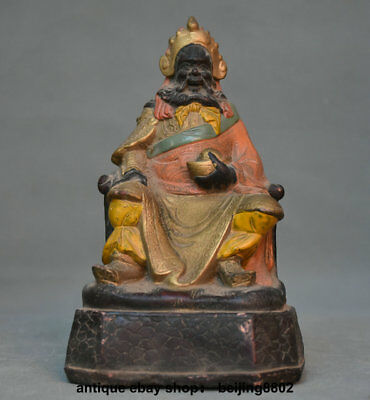 """7.6"""" Antique Old Chinese Wood Painting Mammon Money Wealth God Yuan Bao Statue"""