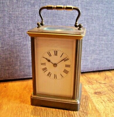 Vintage Richard & Co solid Brass and Beveled Glass Carriage Clock (Visible Mech)