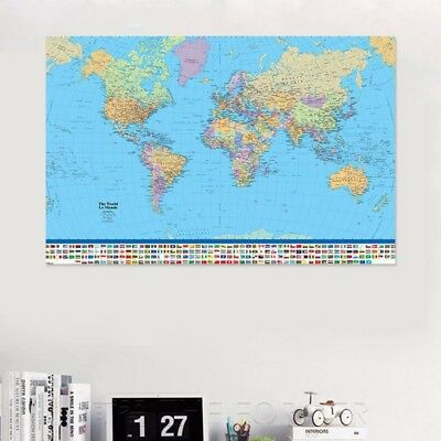 Newest Map Of The World Poster with Country Flag Wall Chart Home Date Version UK
