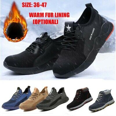 Mens Womens Steel Toe Cap Safety Trainers Work Boots Hiking Shoes Size
