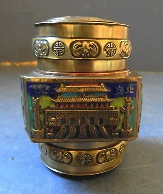 Chinese Small Brass & Enamel Canister / Box - C.1900