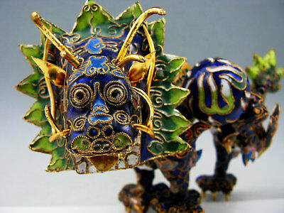 """8""""Cloisonne Chinese Copper Enamel Dragon Statue Old Christmas Ornament Mascot"""