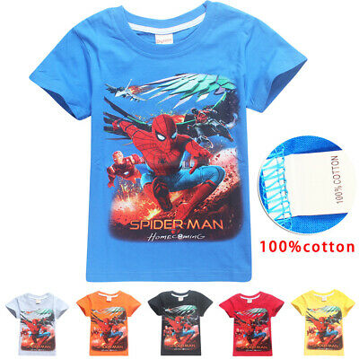2019 Spiderman Boys 100% Cotton T-shirt Kids Summer Casual Tee Top Age 4 6 8 10
