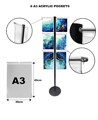 Hook On Over Acrylic Pockets Display Steel Stand A3 Portrait exhibition office