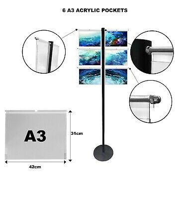 Hook On Over Acrylic Pockets Display Steel Stand A3 Landscape exhibition office