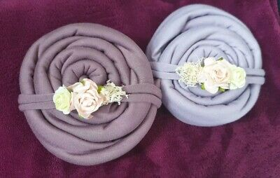 x2! Baby Newborn Photography Prop Rustic Tieback Set Floral Wraps + Headbands x2