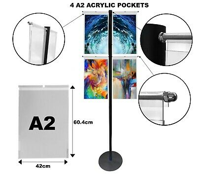 Hook On Over Acrylic Pockets Display Steel Stand A2 Portrait exhibition office